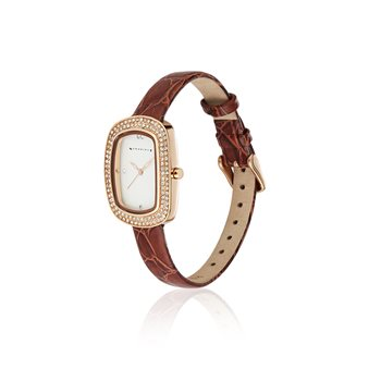 Ladies Watch Leather Strap Clear Stones  - Click to view a larger image