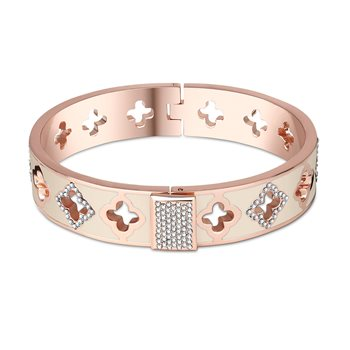 Rose Goldplate Cream Bangle  - Click to view a larger image