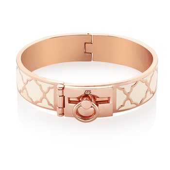 Rose Goldplate Cream Bangle Hinge Lock  - Click to view a larger image