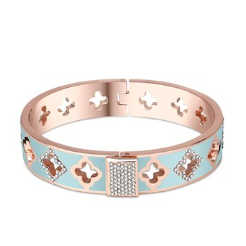 Rose Goldplate Green Bangle  - Click to view a larger image