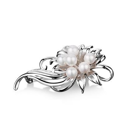 Pearl Cluster Floral Brooch  - Click to view a larger image