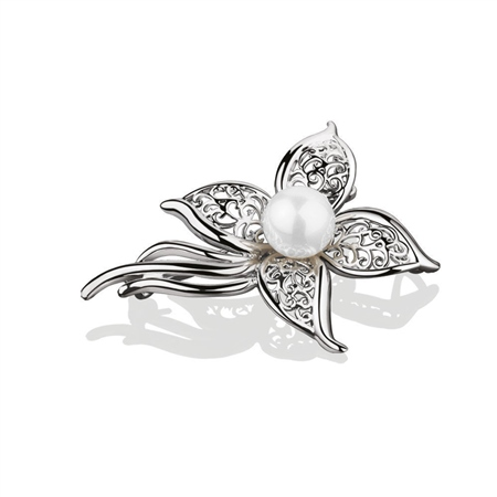 Pearl Floral Brooch  - Click to view a larger image