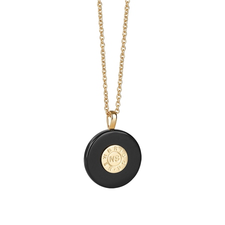 Circular Pendant with Black Stone         - Click to view a larger image
