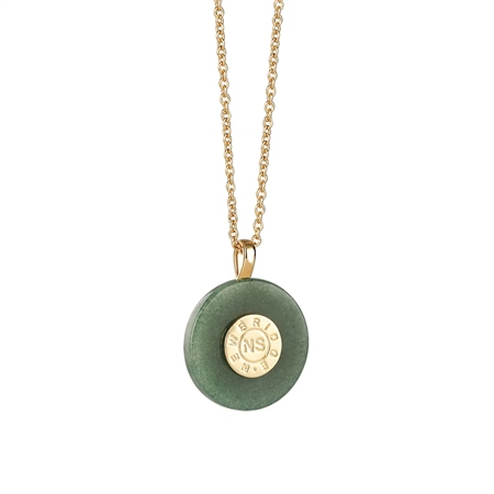 Circular Pendant with Green Stone   - Click to view a larger image