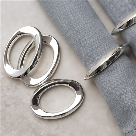 Silver Plated Oval Napkin Rings set of 6  - Click to view a larger image