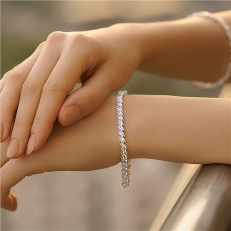 Vintage Style Bracelet with Clear Stones  - Click to view a larger image