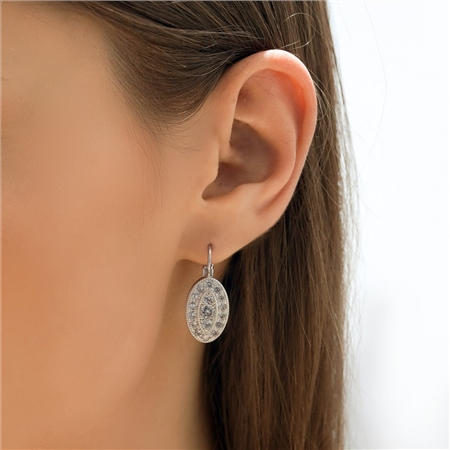 Oval Earrings with Clear Stones  - Click to view a larger image