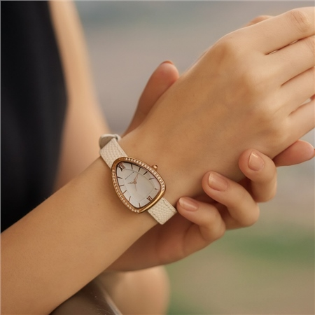 Ladies White Triangular Watch  - Click to view a larger image