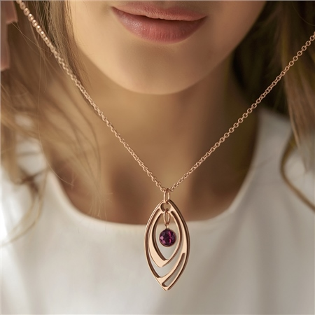 Dew Drop Oval Pendant with Mulberry Stone  - Click to view a larger image