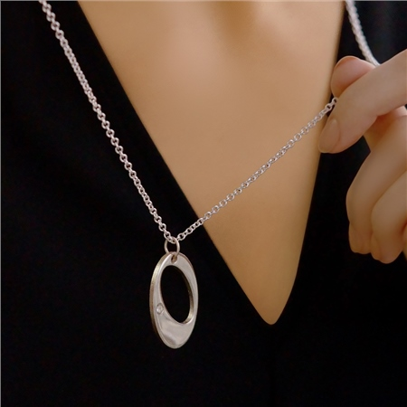 Dew Drop Pendant with Clear Stone  - Click to view a larger image