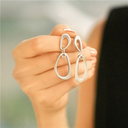 Silver Plated Droplet Earrings  - Click to view a larger image