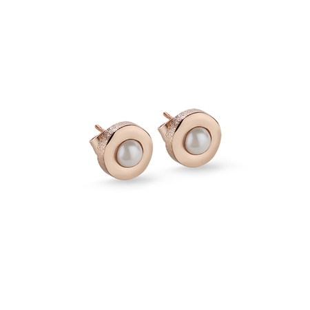 Stud Earrings with Cream Stone  - Click to view a larger image