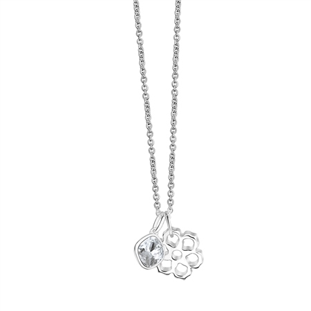 Floral Pendant with Clear Stone 3