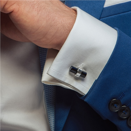 Cufflinks with Black Stone  - Click to view a larger image