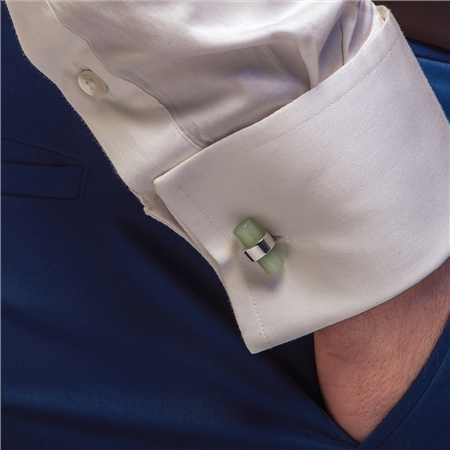 Cufflinks with Green Stone  - Click to view a larger image