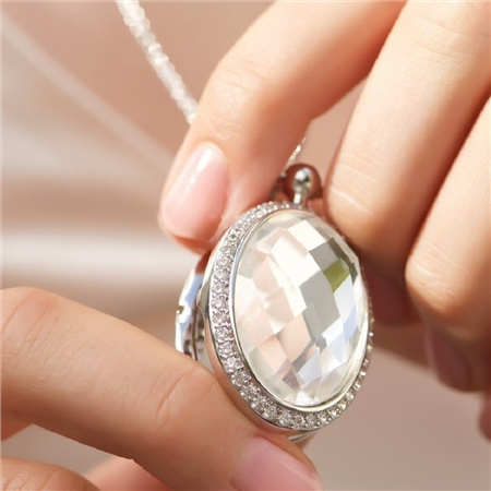 Locket with Large Clear Stone  - Click to view a larger image