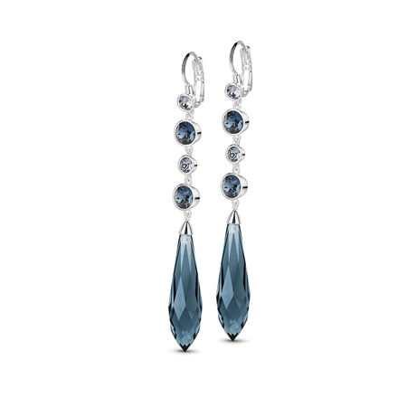 Silverplate Drop Earring with Blue Stones  - Click to view a larger image