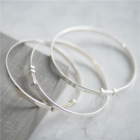 Sterling Silver Christening Bangle  - Click to view a larger image