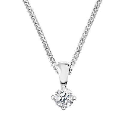 18ct White Gold Diamond Pendant - 0.20ct  - Click to view a larger image