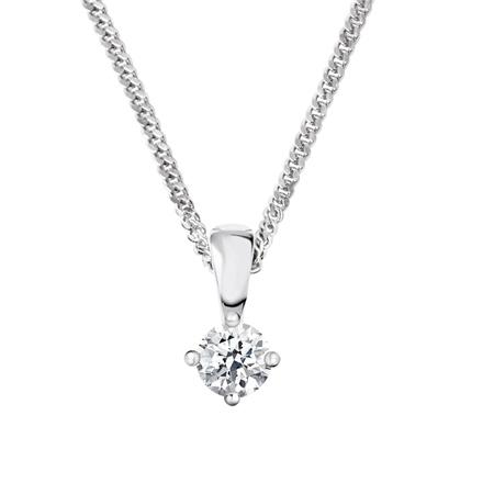 18ct White Gold Diamond Pendant - 0.25ct