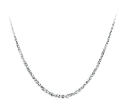 18ct White Gold Original Necklace - Graduated 8ct  - Click to view a larger image
