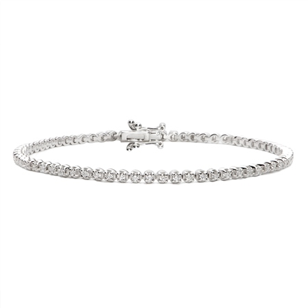 18ct White Gold Diamond Tennis Bracelet - 1.00ct  - Click to view a larger image