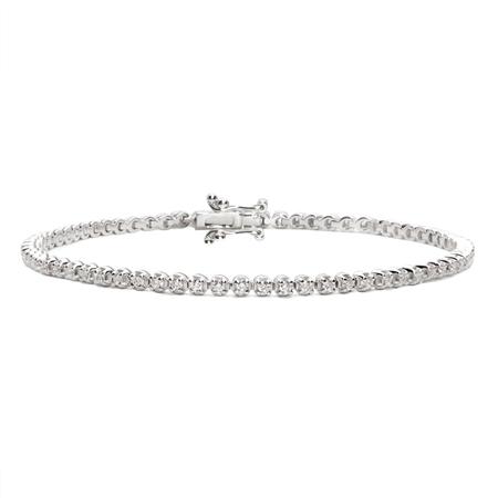 18ct White Gold Diamond Tennis Bracelet - 1.00ct