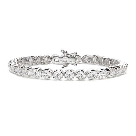 18ct White Gold Diamond Tennis Bracelet - 10.0ct  - Click to view a larger image
