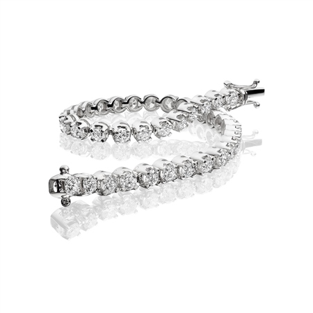 18ct White Gold Diamond Tennis Bracelet - 5.00ct  - Click to view a larger image