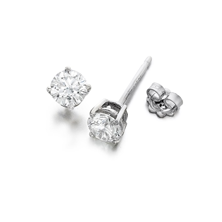 18ct White Gold Diamond Earrings 4 claw 0.15ct tw  - Click to view a larger image