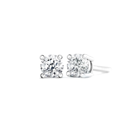 18ct Round 4 claw Earrings 0.60ct tw
