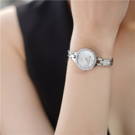 Ladies Silverplated Watch Clear stones  - Click to view a larger image