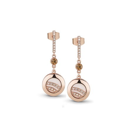 Rose Gold Drop Earrings with Mixed Stones  - Click to view a larger image