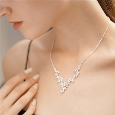 Petal Necklace with Clear Stones