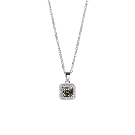 Square Pendant with Clear and Black Stone Setting
