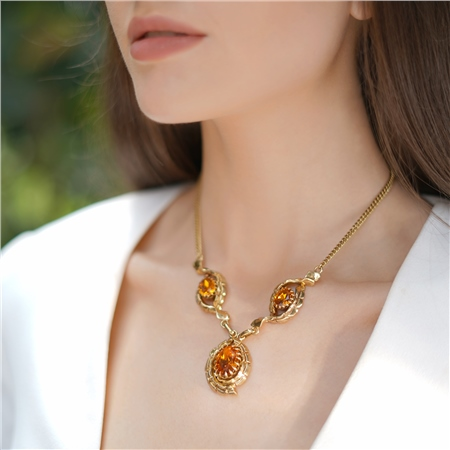 Vintage Gold Plated Necklace with Topaz Stones  - Click to view a larger image