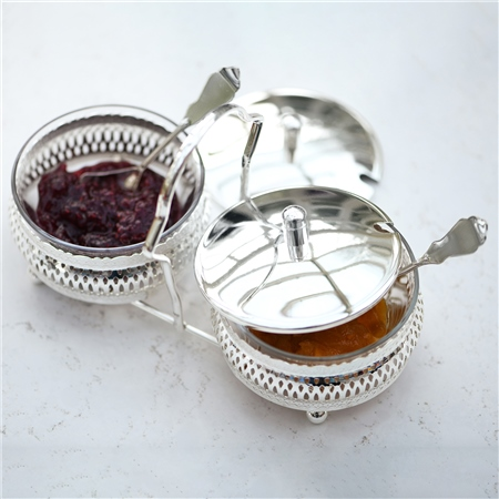 Silver Plated Double Preserves Set