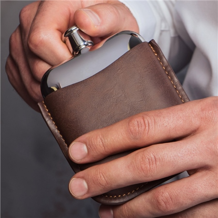 Stainless Steel Hip Flask with Leather Sleeve  - Click to view a larger image