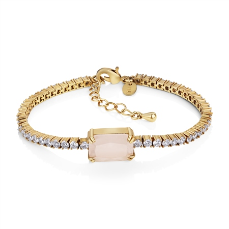 Antique Gold Plated Bracelet Pink & Clear stones  - Click to view a larger image