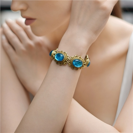 Antique Gold Plated Bracelet with Blue Stones