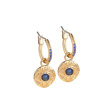 All Seeing Evil Eye Earrings Blue Stone