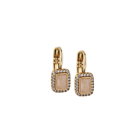 Antique Gold Plated Earrings Pink & Clear Stones