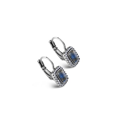 Antique Silver Plated Earrings Blue & Clear stone