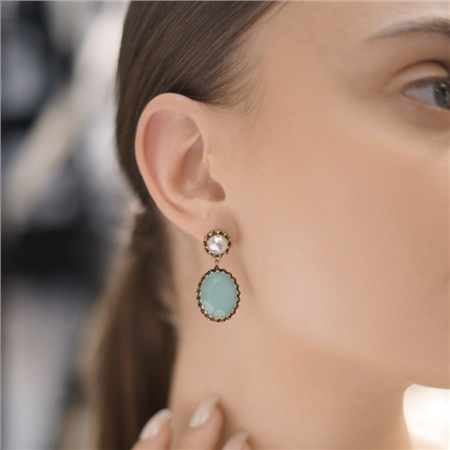 Earrings with Aqua and Pearl Stone Settings  - Click to view a larger image