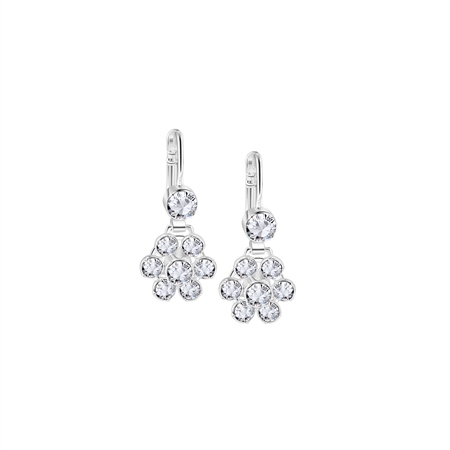 Floral Earrings with Clear Stones