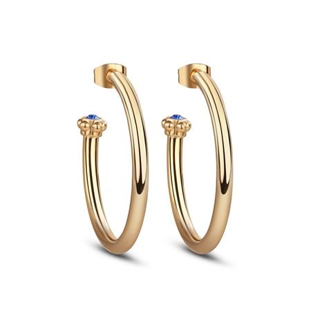 Hoop Earrings Blue Stone