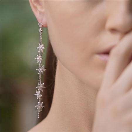 Long Flower Earrings with Clear Stones