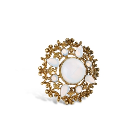 Round Brooch with Opal Coloured Stone Settings