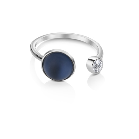 Ring with Blue and Clear Stone Settings  - Click to view a larger image