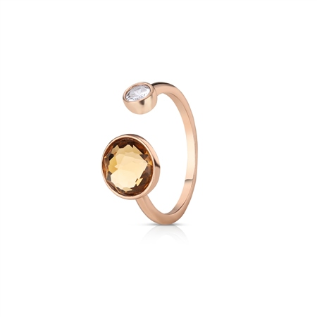 Ring with Yellow Topaz and Clear Stone Settings  - Click to view a larger image